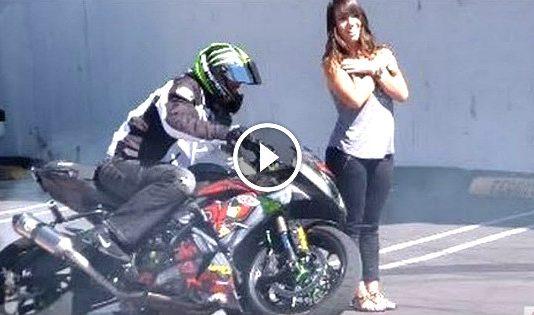 stunts in front of girl