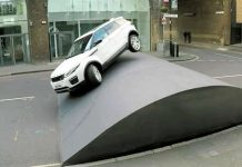 Amazing Range Rover EvoqueStuntOn The HugeSpeed Bump 1