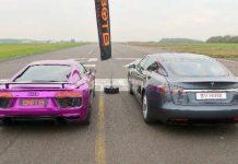 Audi R8 V10 Plus vs Tesla Model S P100D 1