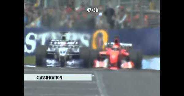 F1 Melbourne 2002 Trulli VS Schumacher VS Montoya INSANE RACING 1