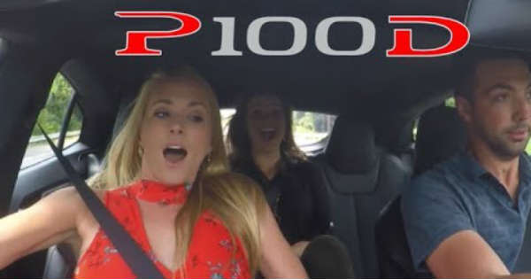 Girls React P100D Tesla Launch 1