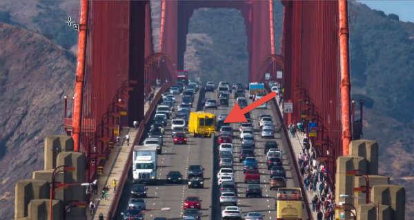 Golden Gate Zipper Truck Changes Lanes During Rush Hour 22