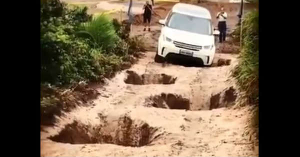 Land Rover Power Conquering Holes Torture test potholes 1