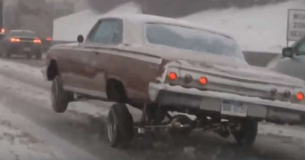 Lowrider With Air Suspension Snow Road Ice 1