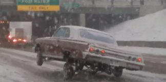 Lowrider With Air Suspension Snow Road Ice 2