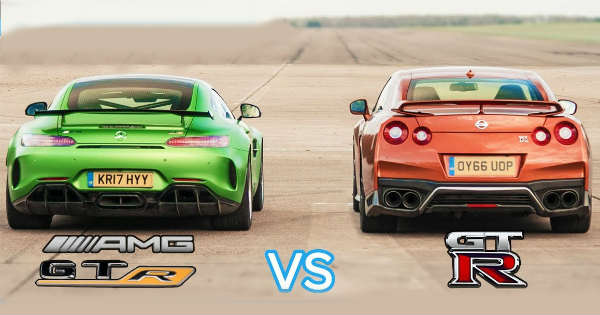 Mercedes AMG GT R vs Nissan GTR Intense Drag Race 1