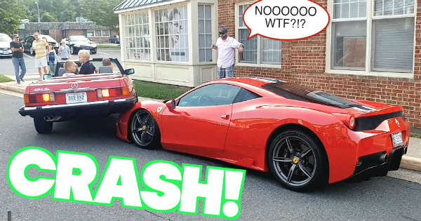 Parallel Parking Fail Woman Wrecks a Ferrari Speciale Mercedes 1