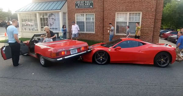 Parallel Parking Fail Woman Wrecks a Ferrari Speciale Mercedes 2