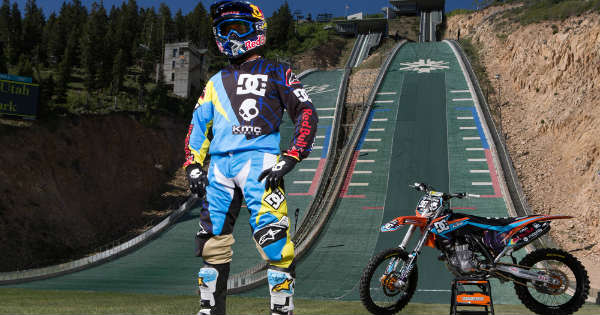 Robbie Maddison Drop InTheSki Jumping Ramp With His Dirt Bike 11