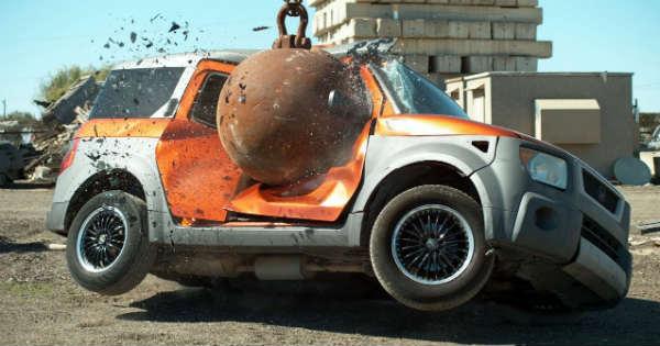 Slow-Motion 4-Ton Wrecking Ball Destroying Cars 1
