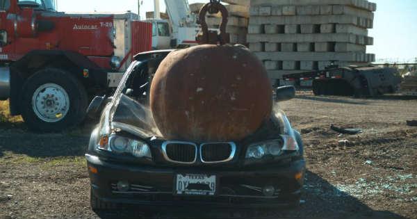 Slow-Motion 4-Ton Wrecking Ball Destroying Cars 2