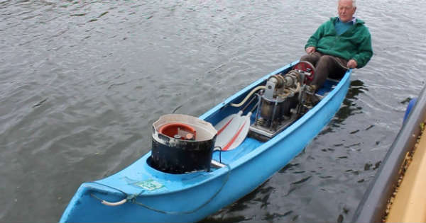 Stirling Engine Powered Canoe hate paddling 2