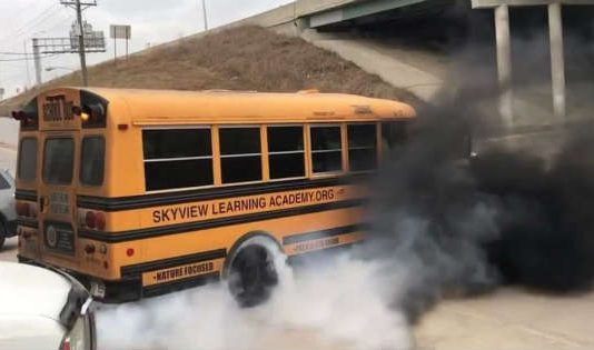 This Powerful School Bus Is Burning Tires Rolling Coal On The Way To School 1