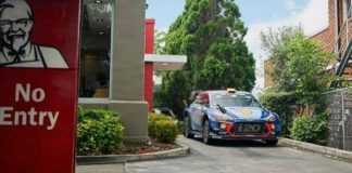 WRC Car Drive Thru Through KFC Hyundai i20 1
