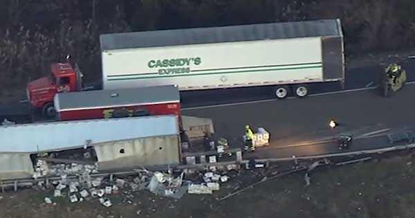 overturned truck spill vodka accident damage 2