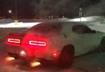 1000HP Hellcat ChallengerShootingFlames Having Fun in the Snow 1