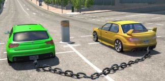Chained Cars Against Bollard Results In Spectacular Animation 1