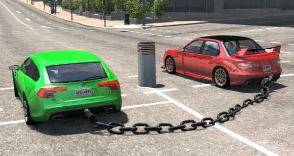 Chained Cars Against Bollard Results In Spectacular Animation 2