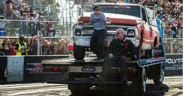 Farmtruck Crashed Hard At A Burnout Competition 1