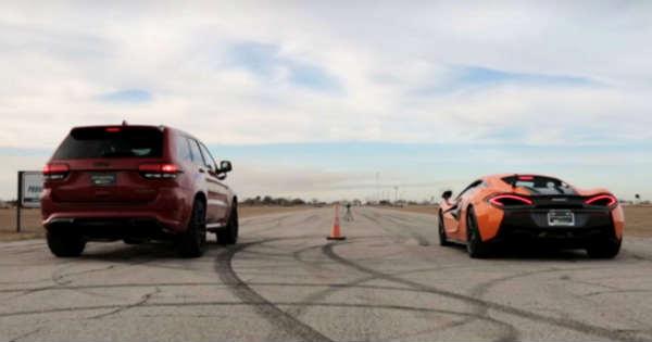 McLaren 570S vs Jeep TrackHawk Drag Race 1