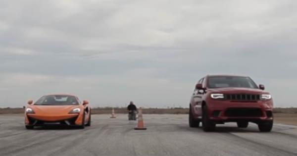 McLaren 570S vs Jeep TrackHawk Drag Race 2