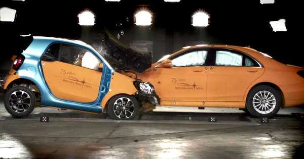 Mercedes Smart vs Mercedes S Class Safety Test 2