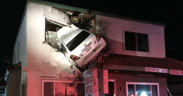 This Car Launched Itself On The Second Floor Of A Building in California 1