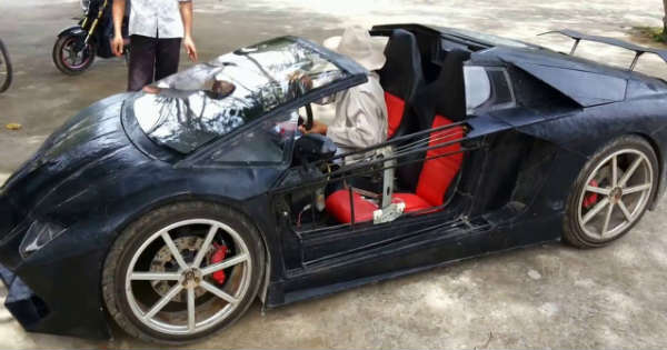This Homemade Lamborghini Has A Motorcycle Engine In It Tire Burn