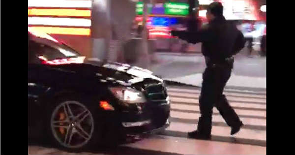 This Mercedes-Benz C63 AMG Nearly Ran Over A Cop At Times Square 11