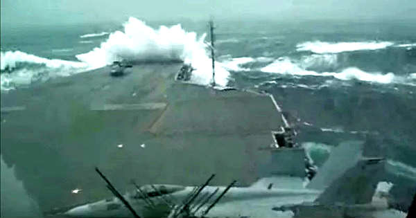 USS Kitty Hawk Aircraft Carrier Sails During Massive Storm With Huge Waves 1