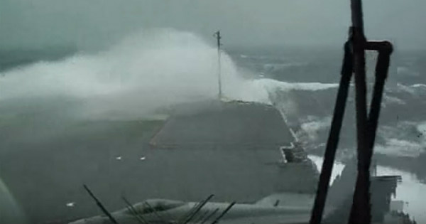 USS Kitty Hawk Aircraft Carrier Sails During Massive Storm With Huge Waves 2