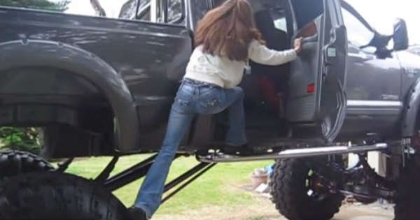 How To Get Into a Lifted Truck 1